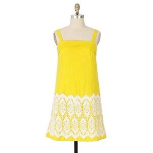 Anthropologie Floreat Lace Accent Yellow Dress